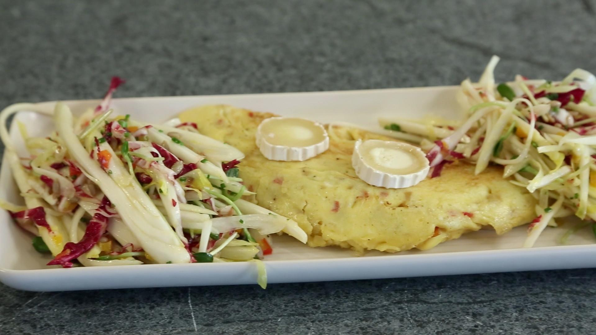 La cuisine par arnaud marchand omelette aux poivrons confits et ch vre for Marchand de cuisine